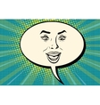 Comic bubble smiley joyful female face vector image