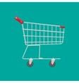 Empty supermarket shopping cart vector image