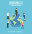 Isometric businessman standing on the world vector image
