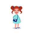 little brunette girl in casual outfit blue polka vector image