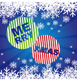 merry xmas with snowflakes over blue background vector image