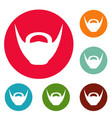 round beard icons circle set vector image