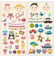 Scrapbook boy and girl set vector image