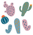 set of flat cactus vector image