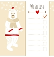 Cute christmas cardbaby shower wish list with vector image