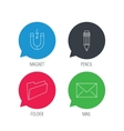 Folder pencil and mail envelope icons vector image
