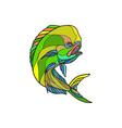 Mahi-Mahi Dorado Dolphin Fish Drawing vector image