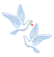 Soaring dove with flower vector image vector image