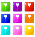 balloon in the shape of heart icons 9 set vector image