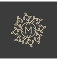 Floral monogram design template with letter M vector image