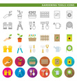 gardening tools icons low vector image