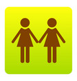 lesbian family sign brown icon at green vector image
