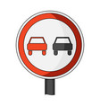 road sign overtaking is prohibited car single vector image