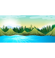 Scene with mountains and pine trees vector image