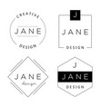set of personal logo templates basic elements for vector image
