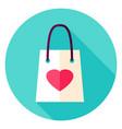 love shopping bag circle icon vector image