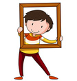 Boy and frame vector image vector image