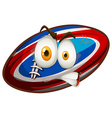 Football with angry face vector image