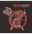 Letterpress overprint design Vintage print vector image