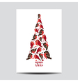 Retro Christmas Card - Birds on Christmas Tree vector image vector image