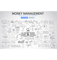Money Management concept with Doodle design style vector image