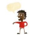 cartoon man making dismissive gesture with speech vector image