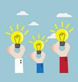 human hand with bulb idea vector image