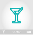 martini cocktail outline icon summer vacation vector image