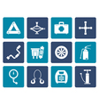 Flat car and transportation equipment icons vector image
