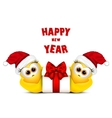 Postcard with chickens in Santa hat Rooster vector image