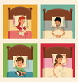 people sleeping comfort bed with pets vector image
