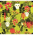 Seamless pattern with cute halloween and flowers vector image