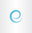blue letter e water wave icon logo vector image
