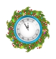 Christmas Wreath with Clock vector image