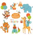 Happy birthday animals vector image vector image
