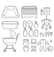 Baby Icons Set Outline Icons vector image