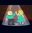 fat people in beautiful costumes dancing ballroom vector image
