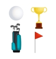 golf sport set icons vector image