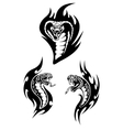 Hissing snakes heads with forked tongues vector image