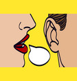 woman lips whispering in mans ear drawing vector image