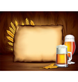 beer paper wood background vector image vector image