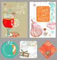 Doodle background with mulled warm wine and fruits vector image