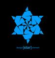 pseudo volume origami David star design element vector image