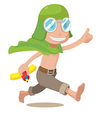 Cartoon Pilot Kids Boy Run vector image