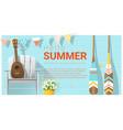 hello summer background with ukulele vector image