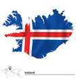 Map of Iceland with flag vector image