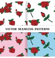 Set of seamless patterns with roses in the old vector image