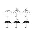 set of umbrella icons vector image