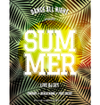 summer party palm leaves and sunlight flyer design vector image