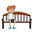 A boy sitting on a bench vector image vector image